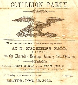Cotillion party announcement at Huckin's Hall (Blue Hill Hotel)
