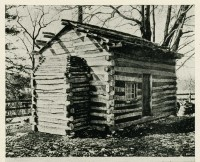 postcard of replica Lincoln Cabin at Forbes House Museum
