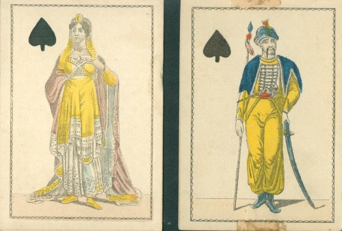 Queen and Jack of Spades showing influence of Oriental Empires